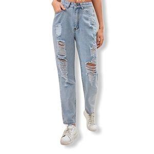 SHEIN Distressed High Rise Mom Jeans—L (8/10)